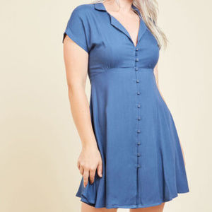 "Modcloth ""House Show Hostess"" Blue Shirt Dress"